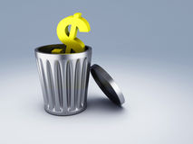 Trash dollar symbol Royalty Free Stock Image
