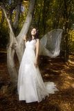 Trash the dress in autumn forest Stock Photo