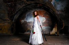 Trash the dress woman Stock Image