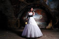 Trash the dress woman Stock Photography