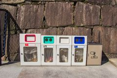 Trash each type of garbage at castle area or important places, J. Apan stock photo