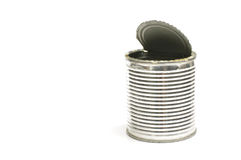 Trash empty can with open lid isolated with copy space Royalty Free Stock Photos