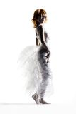 Trash fashion. Dress made out of cling wrap and cellophane royalty free stock photography