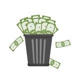 Trash Full of Money. Royalty Free Stock Images