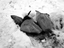 Trash and garbage bags on snow stock photography