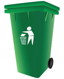 Trash garbage can. Green plastic garbage container with a lid. Vector illustration Stock Photos