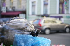 Trash garbage in the city. Many trash in the town. dirty bad ecology in the country stock photo