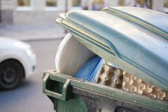 Trash garbage in the city. Many trash in the town. dirty bad ecology in the country stock photography