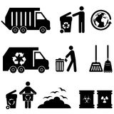 Trash and garbage icons. Trash, garbage and waste icon set Royalty Free Stock Photo