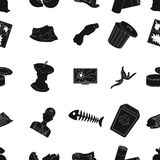 Trash and garbage pattern icons in black style. Big collection of trash and garbage vector symbol stock illustration Stock Photos