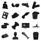 Trash and garbage set icons in black style. Big collection of trash and garbage vector symbol stock illustration Stock Photography