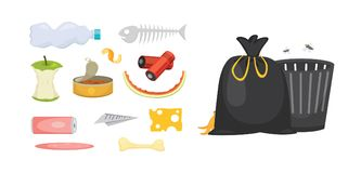 Trash and garbage set illustrations in cartoon style  Stock Photo
