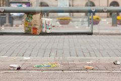 Trash and garbage on the street in Tampere, Finland stock image