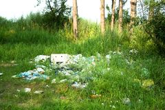 Trash in the grass Royalty Free Stock Photo