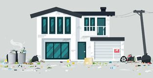 Trash house. A deserted house full of trash with a gray backdrop stock illustration