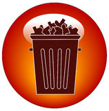 Trash icon or button. Full trash can button or icon - vector Stock Image