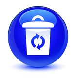 Trash icon glassy blue round button Stock Image