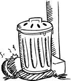 Trash. An illustration of trashcan in black and white Stock Photos