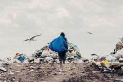 Trash keeper on Landfill. People find or searching garbage for sell to reuse and recycle in landfill. Picture stock images