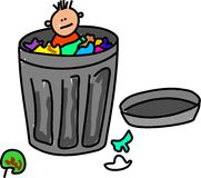 Trash kid. Little boy hiding in a trash can isolated on white - toddler art series Royalty Free Illustration