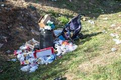 Trash left by Refugees in Tovarnik. TOVARNIK, CROATIA - SEPTEMBER 18: Trash left by Refugees on September 18, 2015 in Tovarnik, Croatia Stock Images