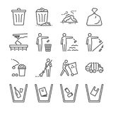Trash line icon set. Included the icons as garbage, dump, refuse, bin, sweep, litter and more. Line icon vector: Trash line icon set. Included the icons as royalty free illustration