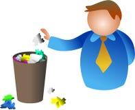 Trash man. Waste paper bin Royalty Free Stock Images