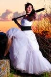 Trash a mulher do vestido Foto de Stock