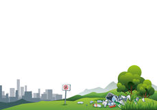 Trash in the Nature Littering City Waste. Vector illustration of littering in the green nature with the cityscape in the background. Trash is thrown away in the Stock Photo