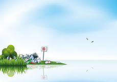 Trash in the Nature Water Lake Littering Waste vector illustration