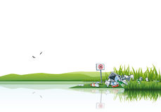 Trash in the Nature Water Littering Waste stock illustration