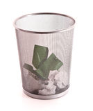 Trash with paper isolated Royalty Free Stock Photography
