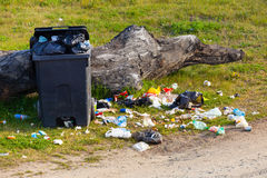 Trash in the park Royalty Free Stock Photography