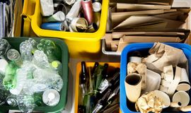 Trash for recycle and reduce ecology environment.  royalty free stock image