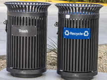 Trash and recycling cans Stock Photos