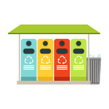 Trash recycling containers, rubbish bins row, waste recycling and utilization concept vector Illustration Royalty Free Stock Photography