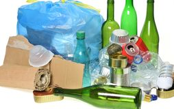 Trash for recycling with, glass bottles, cans, plastic bottle an stock photos