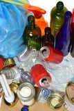 Trash for recycling with, glass bottles, cans, plastic bottle an royalty free stock photography