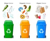 Trash And Recycling Set. With glass and organic waste realistic isolated vector illustration vector illustration