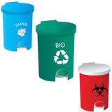 Trash-red-green-blue icons Royalty Free Stock Image