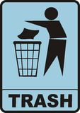 Trash Sign. Figure of person throwing garbage into a trash can Stock Photos