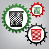 Trash sign illustration. Vector. Three connected gears with icon. S at grayish background vector illustration
