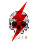 Trash. Skull with Lighting Bolt Royalty Free Stock Image