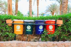 Trash sorting. Ecological concept, trash sorting, four color trash cans for paper, plastic, glass and metal royalty free stock photos