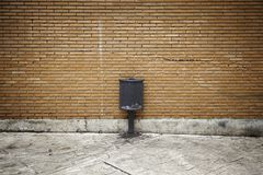 Trash can on street stock photography