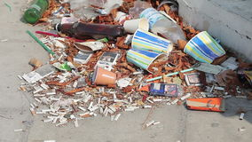 Trash on the street, pollution. Trash on the street. environmental pollution stock video