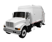 Trash truck over white Stock Image