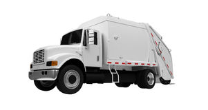 Trash Truck Over White Stock Image