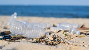 Trash and used plastic bottles on the beach. Environmental pollution. Ecological problem. Rubbish on beach line royalty free stock photo
