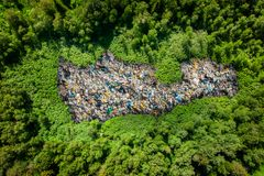 Free Trash Waste Plastic And Packages On Clean Green Field. Concept Poisoning Pollution Pond Water Chemicals Stock Photo - 162026860